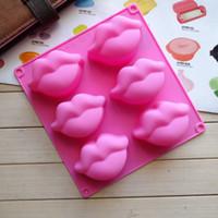 Beso colección fondant caramelo molde de silicona jabón cera haciendo molde besos labios forma 6 cubito de hielo bandeja molde novedad mordaza regalo