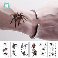 Rocooart 3D Spider Tatoo Scorpione temporanei Adesivi tatuaggio per Halloween falso Tattoo Body Art Tatuajes Joke Tatouage Temporaire