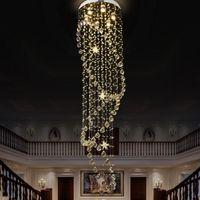 Cystal 긴 계단 샹들리에 계단 LED 2019 현대 크리스탈 빗방울 샹들리에 전등 설비 고급 펜던트 램프를 램프