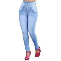 Frauen-Jeans-Knopf-Frühlings-Herbst ButtoPlus Enge Jeans Bleistift-lange Hosen-Stretch-Jeans mit hohen Taille dünner Taschen-Hosen Lady Jeans