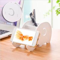 Home Office Desktop Elephant Wood Box Sundries Organizer Stationery Pencil Holder Phone Holder Pen Bracket Stand Storage Rack Y429