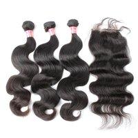 الماليزي العذراء الشعر 3 الشعر حزم مع 1 إغلاق اللون الطبيعي موجة جسم الإنسان ينسج الشعر شحن مجاني بيلا