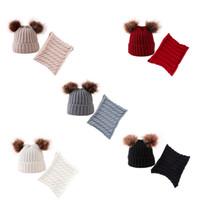 Kış Şapka Eşarp Erkekler Kızlar Pom Cap Seti Çocuk Kış Örgü Pamuk kasketleri Sevimli Kürklü Toplar Bebek Sıcak Caps Eşarplar Seti LJJA3084