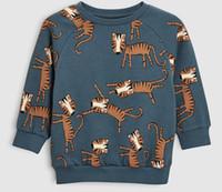 Erkek çocuk giyim Uzun kollu gömlek O-Boyun Karikatür Hayvan Tasarım Gömlek Bahar Güz Çocuk ÜST% 100% pamuk Giyim