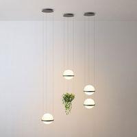 الشمال الحليب الحديثة الزجاج الأبيض الكرة ضوء قلادة مع النباتات وعاء لغرفة الطعام فوير بار اللوبي تعليق مصباح معلق