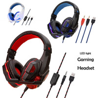 Stereo Gaming Headsets Светодиодные наушники с микрофоном для PC P4 Pro Xbox One Controller Headset для компьтер-книжки для ноутбука