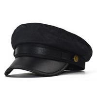 패션 Beret 다용도 주름 모자 린넨 여성 가을 및 겨울 군사 모자 간단한 격자 팔각형 모자의 한국어 버전