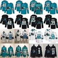 San Jose Sharks Hokeyi Formalar 88 Brent Burns Jersey 65 Erik Karlsson 39 Logan Couture 19 Joe Thornton Evander Kane Tomas Hertl Dikişli