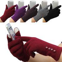 nueva manera de las mujeres de Invierno pantalla de 4 botones táctiles Guantes de deportes al aire libre guantes calientes manoplas manoplas cachemira guante DHL SF ccsme barco