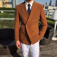LORIE Fashion Peaked Lapel Mens Jacket Stripe Wedding Groom Tuxedos Double-Breasted Men Formal Party Blazer Mens Suits Customize