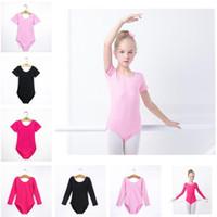 Bambini Ginnastica Body breve o lungo manica bambini costume di danza Balletto Latin Dance Body bambini Esercizio Clothe Solido Colore 2019