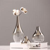 الشمال الزجاج إناء الإبداعية الفضة التدرج جافة زهرة زهرية سطح المكتب الحلي الديكورات المنزلية هدايا متعة النباتات الأواني تأثيث T200617