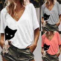 Feminino t-shirt bonito gato impressão mulheres casual tshirt verão solta v pescoço top toe 2021 t camisa femme roupas