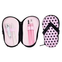 Caso Sandalo Hot 4 Pezzi Manicure set in PU con Box Kit da viaggio Nail Care Clipper forbici governare Strumento Pedicure