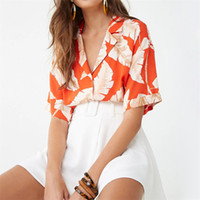 Women Chiffon Blouse Summer Floral Beach Print Blouses Turn-...