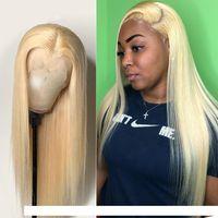 Прямые полные кружева человеческие волосы парики 613 блондинка бразильский HD прозрачный неверный для черной женщины