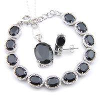 Cadılar Bayramı Hediye saplama Küpe Kolye Bilezik 3PCS Takı Oval Siyah Oniks 925 Gümüş Kolye Kadınlar Takı İçin Moda Setleri