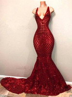 2019 Blingbling Red Sequins Prom Dresses Sleeveless Mermaid Plunging V Neck Black Girl Prom Dresses Abiti da sera