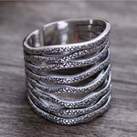 Fashion Rhodium Plated 925 Sterling Silver Eight Rows Open W...