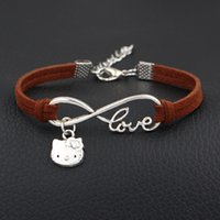f24a4e93a Wholesale hello kitty bracelet charms for sale - Group buy Authentic Silver  color Dark Brown Leather