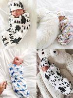 2019 Yenidoğan Bebek Kundak Bebek Battaniye + Şapka bir bere ile kundak Yumuşak Pamuk Uyku Çuval Iki Parçalı Set Uyku Tulumu 11 renkler