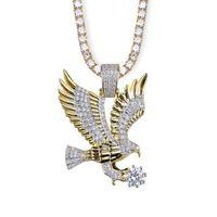 Кулон ожерелья хип-хоп ожерелье ожерелье из золота цвета покрытием медь всех со льдом Micro Pave CZ камни мужские шармы ювелирные изделия подарок