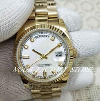 Fábrica de Luxo Mãe-of-Pearl Diamond Dial Pulseira de Aço Inoxidável Prata 2813 Movimento Automático Sapphire Vidro 36mm Men Relógios