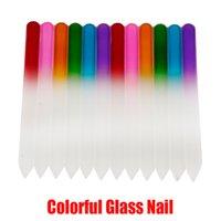 La herramienta del arte colorido de uñas de cristal Archivos cristalina durable de lima de uñas Nail Buffer NailCare para la herramienta de manicura UV En polaco Stock