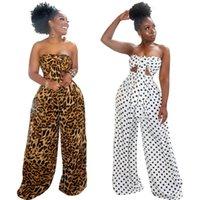 Женщины горошек широкие брюки + грудь обернуть 2 шт костюм спортивная Леопардовые брюки+лук топы весна-лето одежда S-2XL наряды 2740