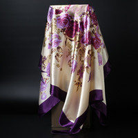 Fashion Kerchief Hair Scaw For Women Green Purple Print Silk Hivab Scarfs 90 cm * 90 cm Square Shalws Scarves For Ladies 2019