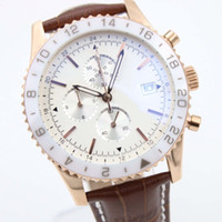 Man Wristwatch BR 24 Chronograph Quartz حركة 1884 Chronoliner Eldose أبيض السيراميك الحافة المعصم Chronomat Y2431033 ساعات رجالي