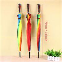 Bunte Mode Regenbogen-Regenschirm Regen Frauen-Marken-24K-windundurchlässige lange Griff Regenschirme Starke Rahmenwasserdicht VT0466