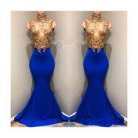 Lujo cuello alto sirena vestidos de baile lentejuelas doradas sin mangas con Royal Blue Long Train vestidos de noche para ocasiones especiales