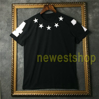 2020 Hot sell Brand tag clothing mens White five pointed star flock printing t shirt fashion t shirts Designer t shirts Camiseta tops tee