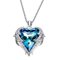 Hot Sale The Heart Of The Ocean , Heart- Shaped Crystal Neckla...