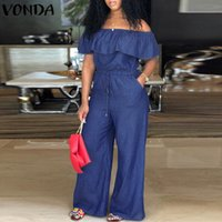 Denim Rompers Womens Jumpsuit 2019 Summer Sexy Slash Neck Of...