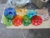 Duże Dekoracyjne Płyty Murano Światła Światowa 100% Ręcznie Dmuchane Szklane Kwiat Wall Art Worling Room Decor