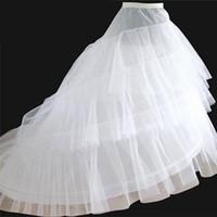 2019 Moda de alta calidad Romántico Hoop blanco 3 capas Falda Crinolina Petipoat Sirvienta Slips Tren vestido de boda