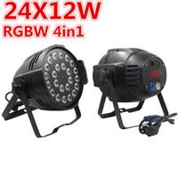 8PCS 24x12W LED أضواء الاسمية RGBW 4IN1 أدى ضوء الاسمية DMX 512 مراقبة مرحلة المهنية معدات الإضاءة