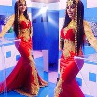 2020 Nuove maniche lunghe arabe musulmane perline sirena oro e rosso celebrità abiti da sera Dubai pakistan lungo maxi abiti da ballo