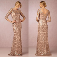 Long Sleeves Rose Gold Mother of the Bride Groom Dresses Bat...