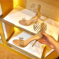 new classic temperament high heels Transparent material stud...