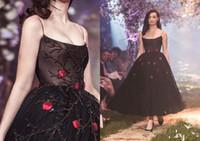 파올로 세바스찬 2,083 드레스 붉은 꽃 발목 길이 특별 행사와 함께 2020 새로운 이브닝 드레스 검은 색 파란색 스파게티 스트랩 댄스 파티 드레스