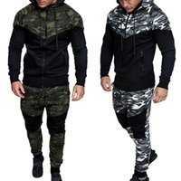 2018 New Camouflage Printed Männer Set-verursachende Patchwork Jacket Men 2Pcs Anzug Sport Hoodies Sweatshirt Hosen Jogger Suit1