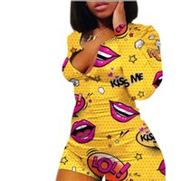 Women Jumpsuits Fashion Lips Pattern Light Color Jumpsuits S...