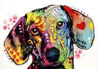 -Sis-03032 Street Art Graffiti Dog Topp Handmålat Handkors Konst Oljemålning HD Skriv ut Konst Oljemålning på kanfas väggbilder