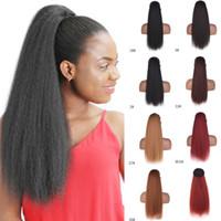 Larga cordón de maíz Pelo de caballo extensión de cola de caballo 22 pulgadas Sintético Sintético Afro Kinky Rizado Piece para mujer Color marrón negro