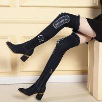 2019 джинсовой ткани стрейч сапоги женские тонкие и тонкие сапоги корейских высоких каблуках толстые пятки на высоких каблуках гольфы сапоги