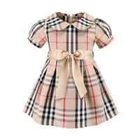 Neonate Plaid Dress 2019 Stili europei e americani New Kids Girl Cute Doll Collar Maniche corte Plaid Abiti Moda di alta qualità Dres