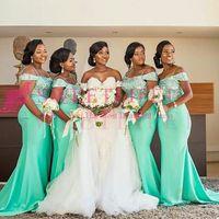 2020 Sydafrika Stil av axeln Bridmaid Klänningar Lace Appliques Mermaid Maid of Honor Wedding Guest Gowm Custom Made Hot Sale
